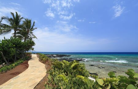 Coastal Resort on Hawaii Kona Island on Still Volcanic Lava Flow Stock Photo
