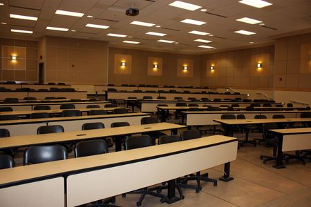 Empty classroom in the university after lecture time