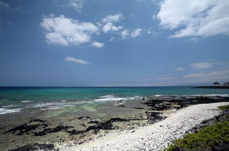 kona: Beach on Volcanic Lava Coast Of Kona Island, Hawaii