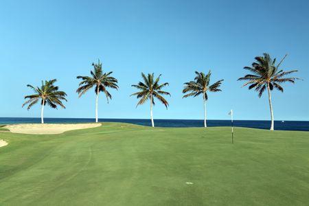 Golf Course on Lava Ocean Shore of Kona Island, Hawaii photo