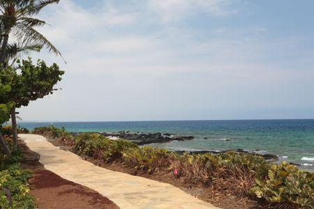 kona: Coastal Resort on Hawaii Kona Island on Still Volcanic Lava Flow Stock Photo