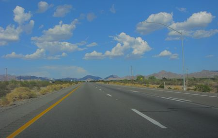 Interstate-10 in Mountain Desert during Monsoon Season, AZ Stock Photo - 3440507