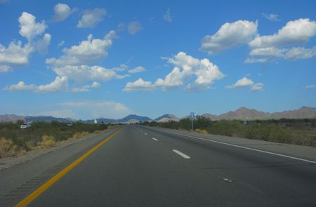 Interstate-10 in Mountain Desert during Monsoon Season, Arizona Stock Photo - 3454632