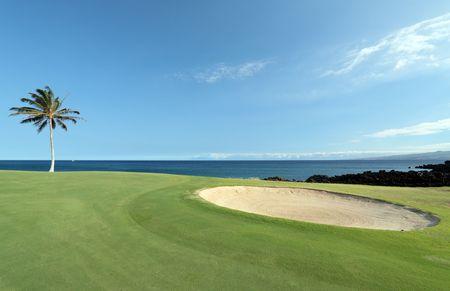 kona: Hawaiian Golf Course on Lava Ocean Shore of Kona Island