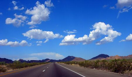 Interstate Highway Ten in Mountain Desert during Monsoon Season, Arizona Stock Photo - 3481962