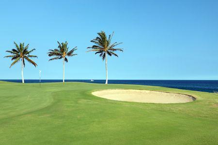 kona: Green Hawaiian Golf Course on Lava Ocean Shore of Kona Island Stock Photo