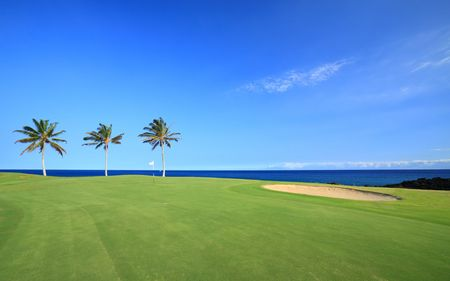 volcanic landscape: Golf Course on Green Ocean Shore of Kona Island, Hawaii Stock Photo