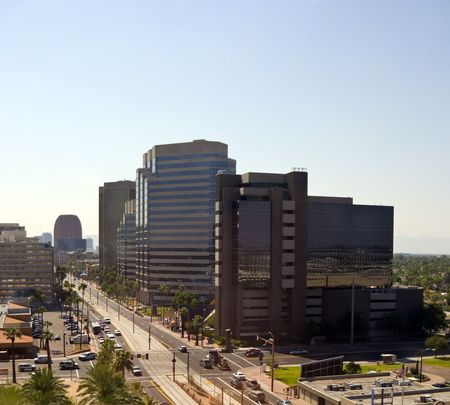 Central Avenue with Office Buildings in downtown of Phoenix, AZ photo