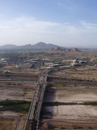 bird view: Bird Eye View of Phoenix Highways and Mountains,  Arizona