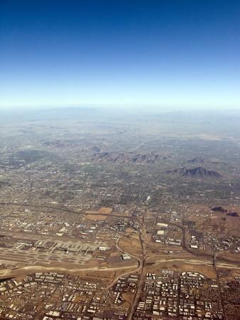 runways: Bird Eye View of Sky Harbor Airport, Phoenix  Arizona