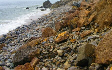 Panoramic Rocky Ocean Beach Hill Slope Background