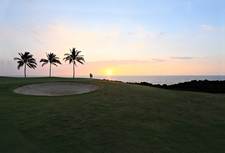 kona: Amazing Golf Course Sunset, Kona Island Ocean Shore, Hawaii Stock Photo