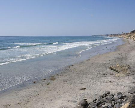 steep cliffs: Azure Pacific Waters and Steep Cliffs, Solana Beach, Southern California