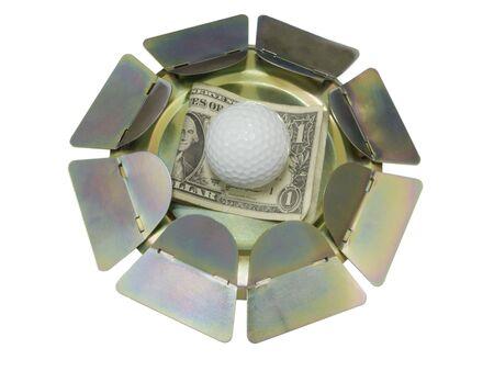simulator: Golf Putting Trainer; isolated on white Stock Photo