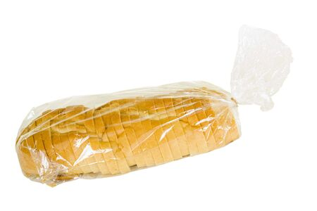 Sliced rustic French bread in plastic bag