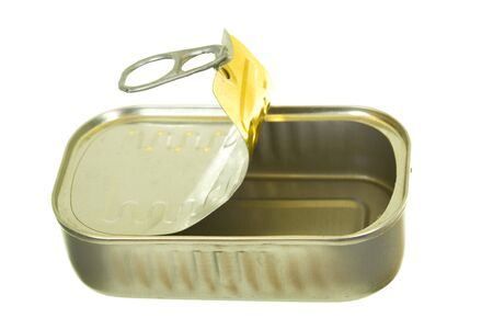 sardine can: Empty sardine can, macro view; isolated on white