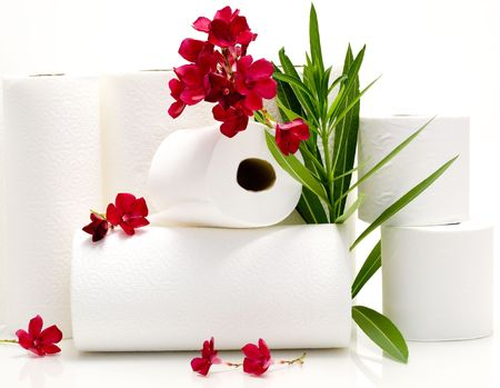 Aromatized Toiled Paper and Towels with Red Oleander Flowers