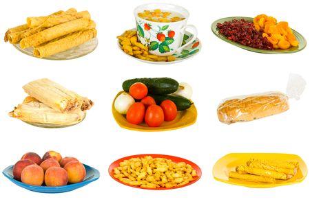 combined: Combinados: comida basura y saludable; aislado en blanco