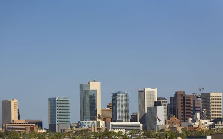 Blue Sky Cityscape of Phoenix Downtown in the Midst of Arizona Hot Summer photo