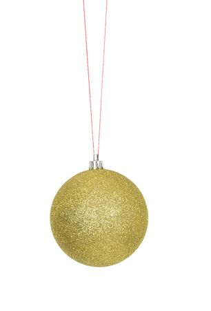 Bright Sparkling Golden Christmas Ornament Ball on Red Strings, isolated on white Stock Photo