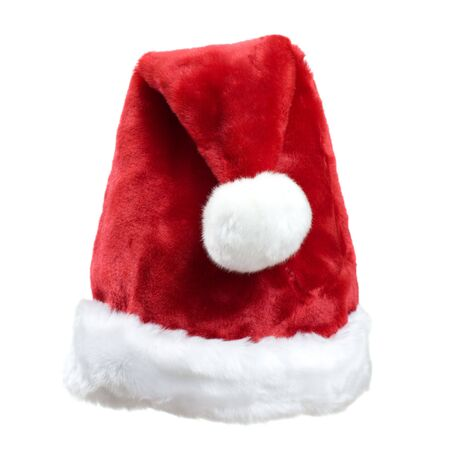 white trim: Christmas Santa Clause Red Hat with White Ball and Trim