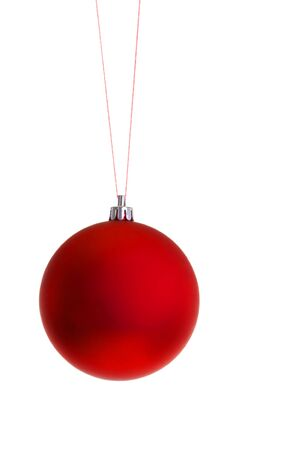 hanging toy: Red Christmas Ornament Ball on String, isolated on white