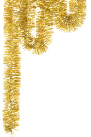 Golden garland for Christmas decoration; isolated on white Stock Photo