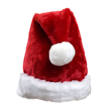 white trim: Red Hat of Santa Clause with White Fur Trim and Ball; on white Stock Photo