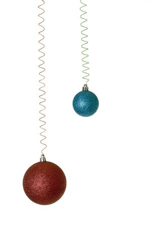 Sparkling Red and Blue Balls Christmas Ornaments on Coils photo