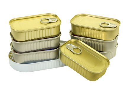Canned goods isolated on white background, close up photo