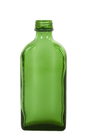 Empty Green Liquor Glass Botlle, isolated on white