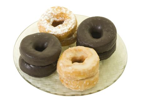 Assorted donuts on plate, isolated Stock Photo - 6149833