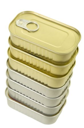 canned goods: Stack of canned goods isolated on white background, close up Stock Photo