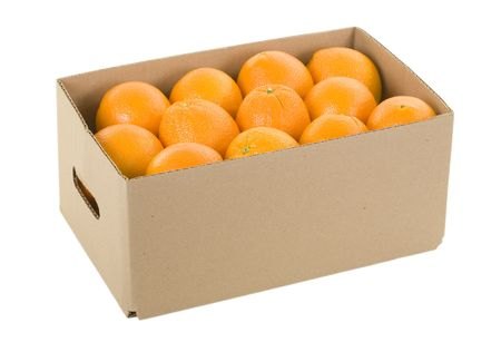 Fresh oranges in box