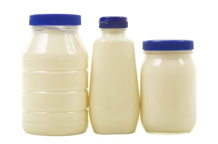 Tree jars with mayonnaise, isolated,  photo
