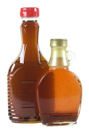 srawberry: Two bottles with strawberry and maple syrup