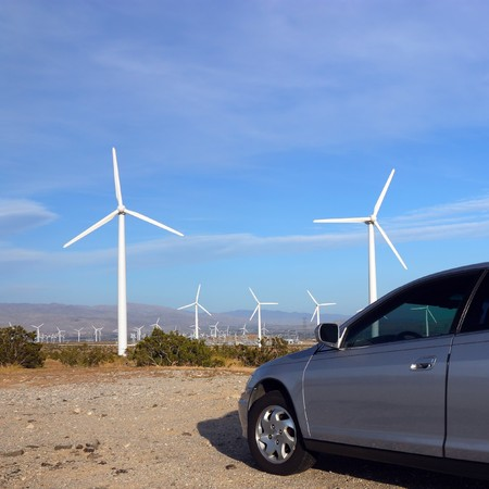 Windmill Electricity and Gas Burning Car photo