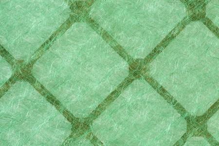 Green recyclable airconditioner filter; close up photo