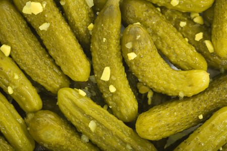Petite dill pickles background; close up, macro view photo