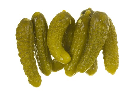 Petite dill pickles; isolated on white background photo