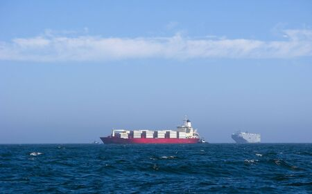 oceanic: Oceanic Container Ships and Tug Boats near Oxnard port,  CA