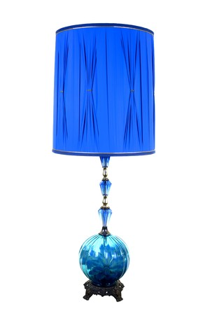 lamp shade: Decorative desktop blue lamp; studio isolated on white