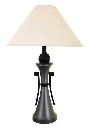 lamp shade: Brushed steel decorative electric lamp; isolated Stock Photo