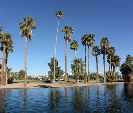 az: Urban oasis in Encanto park, Phoenix downtown, AZ Stock Photo