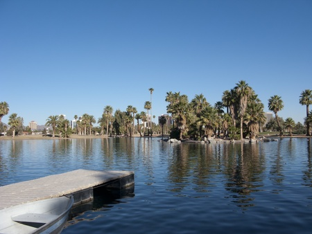 az: View of City of Phoenix Downtown from a loch of Encanto Park, AZ Stock Photo