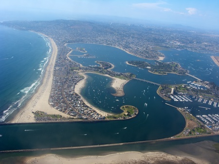 san diego: Aerial View of San Diego shore with lakes and residential units, California