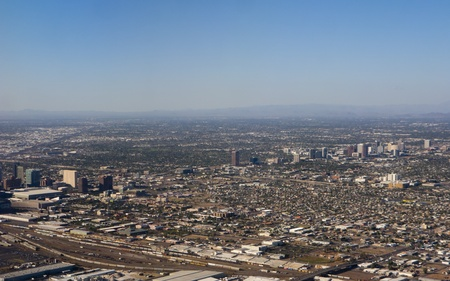 Arizona capital city of Phoenix; bird-eye view