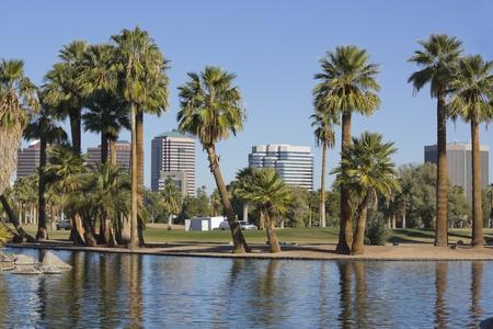 Downtown of Phoenix from Encanto park, AZ photo