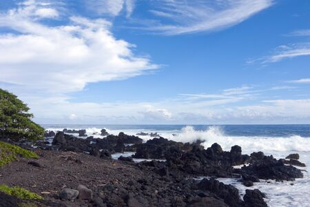 costal: Volcanic Coast of Maui north of Paia from Hana highway, Hawaii