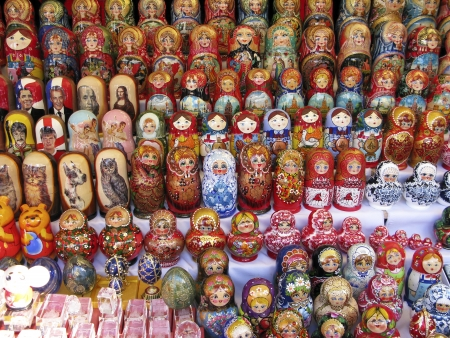 retail display: Modern leaders depicted in Russian nesting dolls Editorial